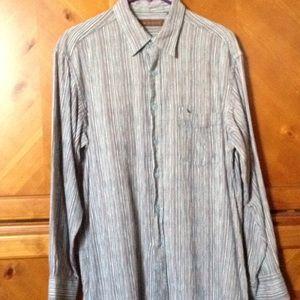 Other - Mens Tori Richard Silk Striped Blue Dress Shirt LG